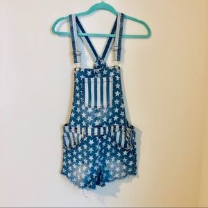 Other - Forth of July Stripes Stars Short Overalls